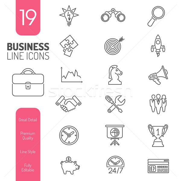 Business Strategy Thin Lines Web Icon Set Stock photo © -TAlex-