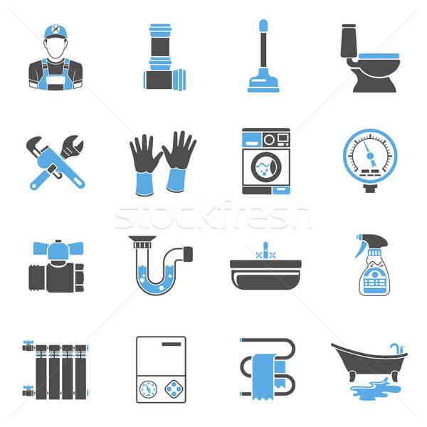 Sanitair dienst iconen sticker ingesteld twee Stockfoto © -TAlex-