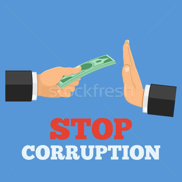 Stop korrupció kéz pénz egyéb kézmozdulat Stock fotó © -TAlex-