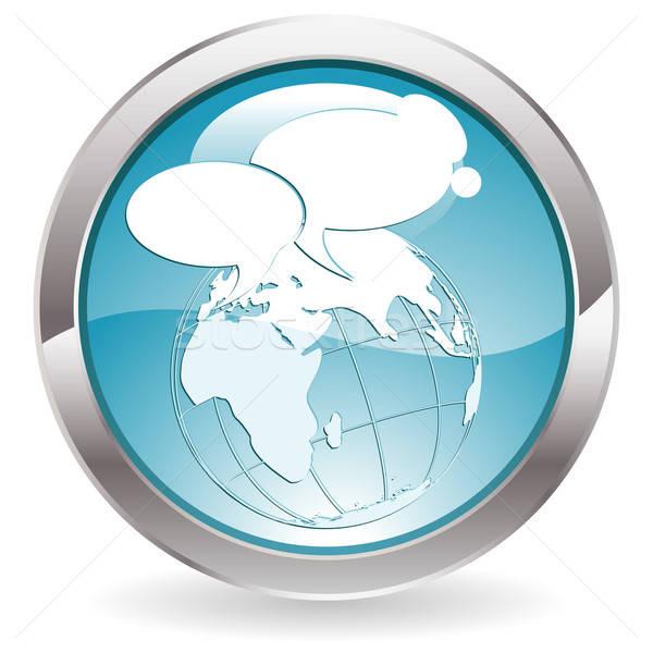 Glans knop cirkel aarde icon Stockfoto © -TAlex-