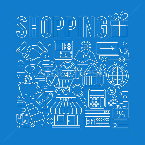 Online Shopping Thin Lines Web Icon Concept Stock photo © -TAlex-