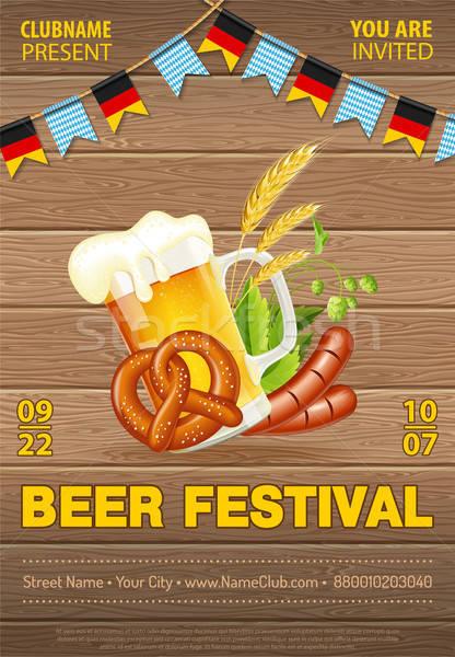Oktoberfest bier festival poster viering glas Stockfoto © -TAlex-