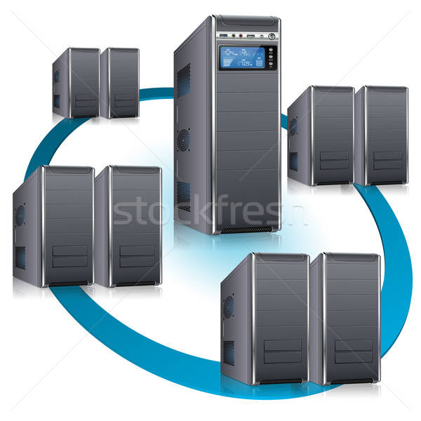 сеть сервер ЖК отображения рабочая станция изолированный Сток-фото © -TAlex-