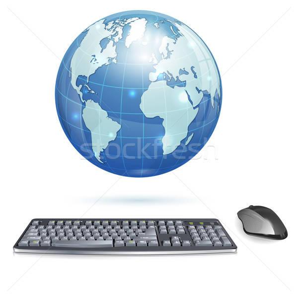 Global informática ordenador realista 3D teclado Foto stock © -TAlex-