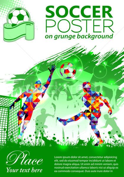 fotbal poster jucatori fani grunge om ilustratie
