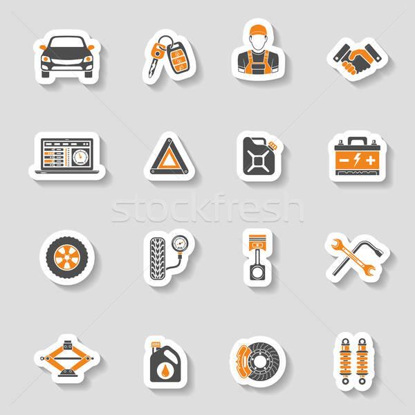 Сток-фото: автомобилей · службе · вектора · иконки · наклейку · набор