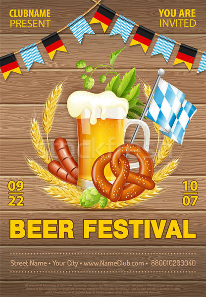 Oktoberfest sör fesztivál poszter ünneplés hordó Stock fotó © -TAlex-