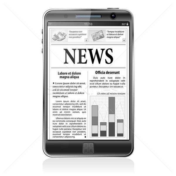 Concept - Digital News. Smartphone with Business News on Screen Stock photo © -TAlex-