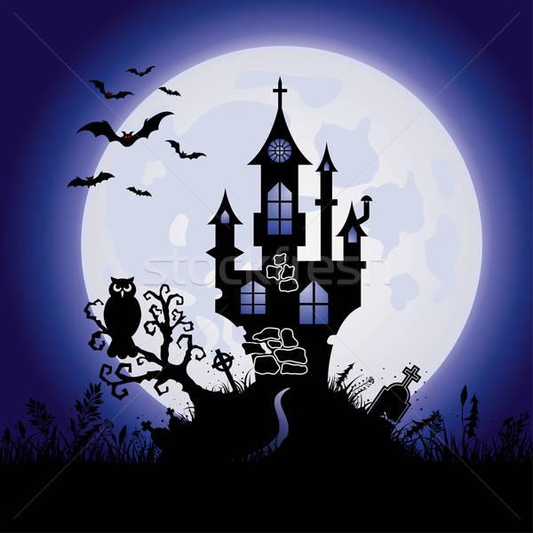 Halloween wenskaart kasteel volle maan boom gras Stockfoto © -TAlex-