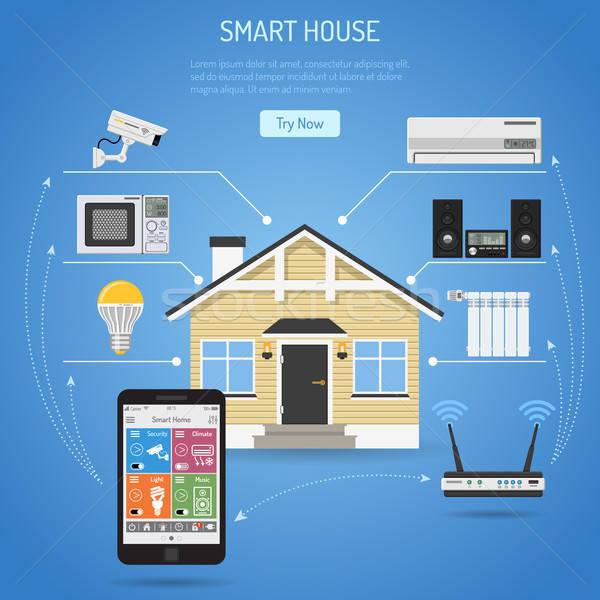 Foto d'archivio: Smart · casa · internet · cose · smartphone · home