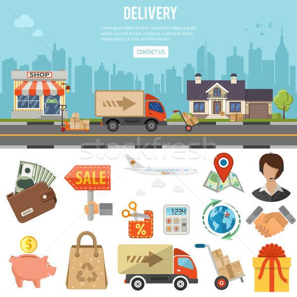 インターネットショッピング バナー を 配信 インフォグラフィック スタイル ストックフォト © -TAlex-
