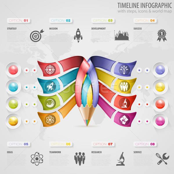 Idővonal infografika üzlet ceruza ikonok szám Stock fotó © -TAlex-