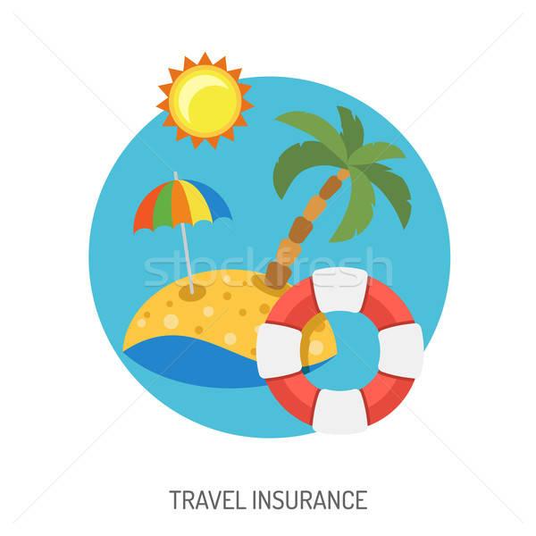 Podróży ubezpieczenia ikona plakat reklamy Zdjęcia stock © -TAlex-