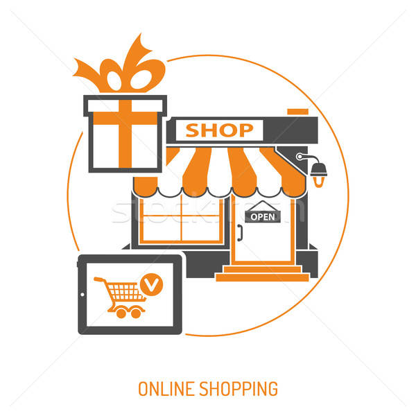 Internetes vásárlás online kettő szín ikonok üzlet Stock fotó © -TAlex-