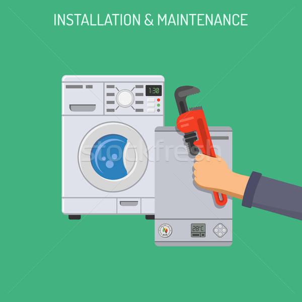 Plomberie Ouvrir la installation entretien icônes main Photo stock © -TAlex-