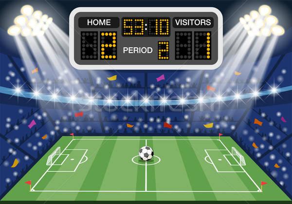 Voetbal stadion scorebord iconen spotlight bal Stockfoto © -TAlex-