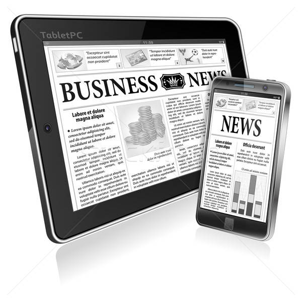 Concept - Digital News. Tablet PC and Smartphone with Business N Stock photo © -TAlex-
