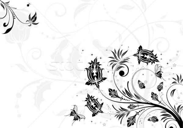 Virágmintás virág pillangó alkotóelem terv háttér Stock fotó © -TAlex-