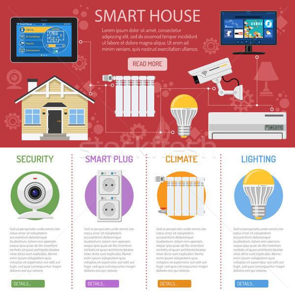 Stock fotó: Okos · ház · internet · dolgok · infografika · tabletta