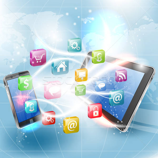 Stockfoto: Business · smartphone · toepassing · iconen · wereld