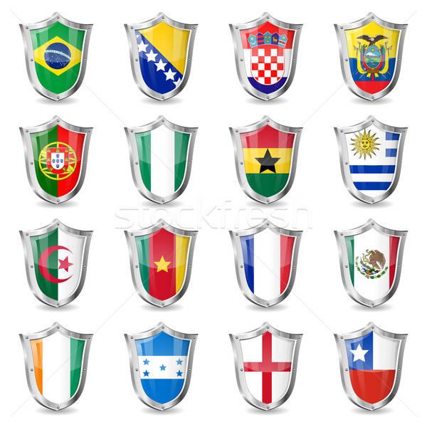 Fútbol banderas mundo campeonato 2014 aislado Foto stock © -TAlex-