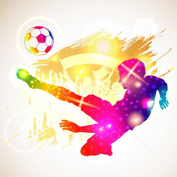 Fußballer hellen Regenbogen Silhouette Fans Grunge Stock foto © -TAlex-
