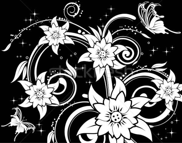 Virágmintás pillangó alkotóelem terv virág absztrakt Stock fotó © -TAlex-