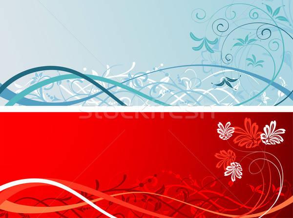 Virágmintás alkotóelem terv absztrakt háttér kék Stock fotó © -TAlex-
