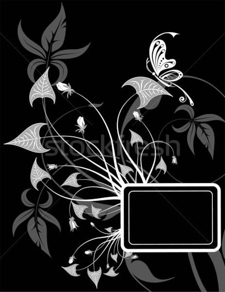 Virág keret pillangó alkotóelem terv absztrakt Stock fotó © -TAlex-