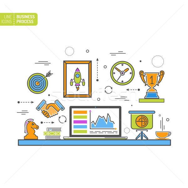 ストックフォト: ビジネス · プロセス · 薄い · 行 · 色 · ウェブのアイコン