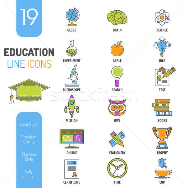 çevrimiçi eğitim ince hatları renk web simgesi Stok fotoğraf © -TAlex-