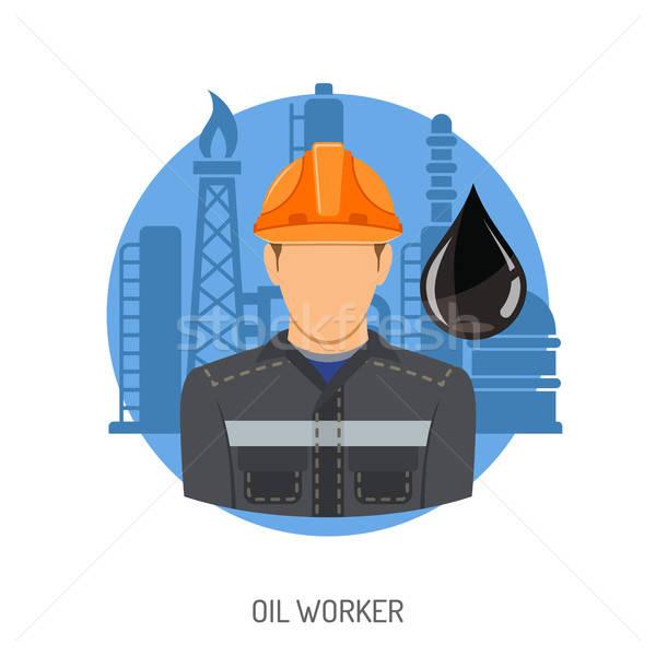 Olajmunkás ikonok finomító olaj csepp izolált Stock fotó © -TAlex-