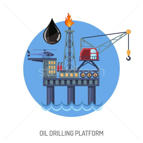 Oil drilling platform concept Stock photo © -TAlex-