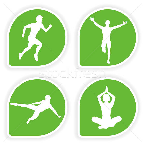 Collect Sticker with Sport Silhouettes Stock photo © -TAlex-