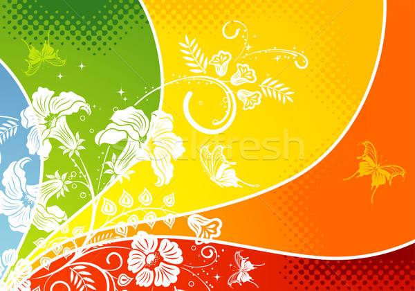 Virágmintás pillangó alkotóelem terv absztrakt háttér Stock fotó © -TAlex-