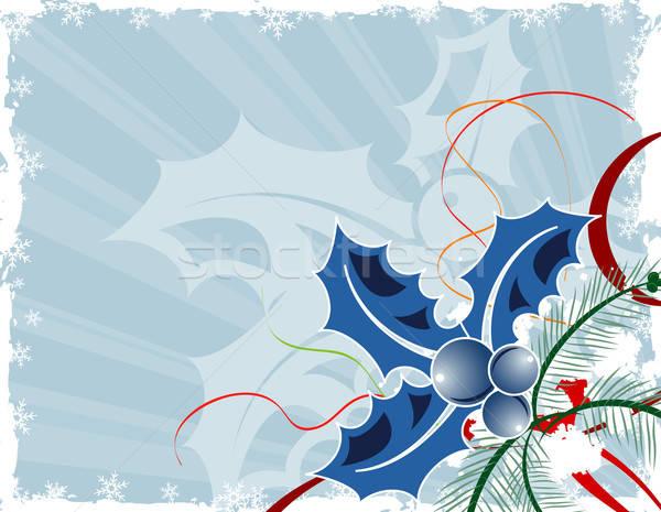 Karácsony grunge keret fagyöngy alkotóelem terv Stock fotó © -TAlex-