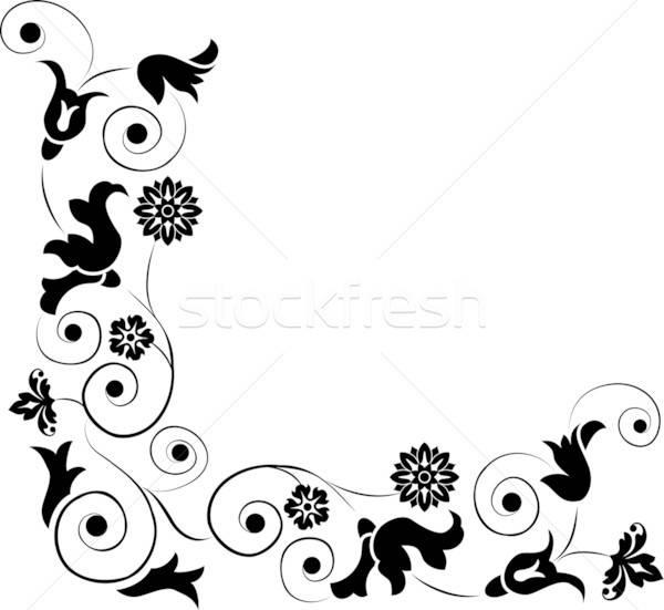 Stok fotoğraf: Dizayn · köşe · çiçek · vektör · çiçek · çerçeve