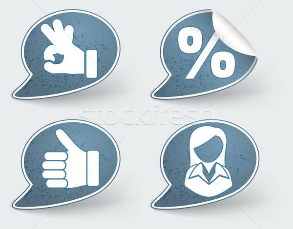 Collect Sticker with Hand and Woman Icon Stock photo © -TAlex-