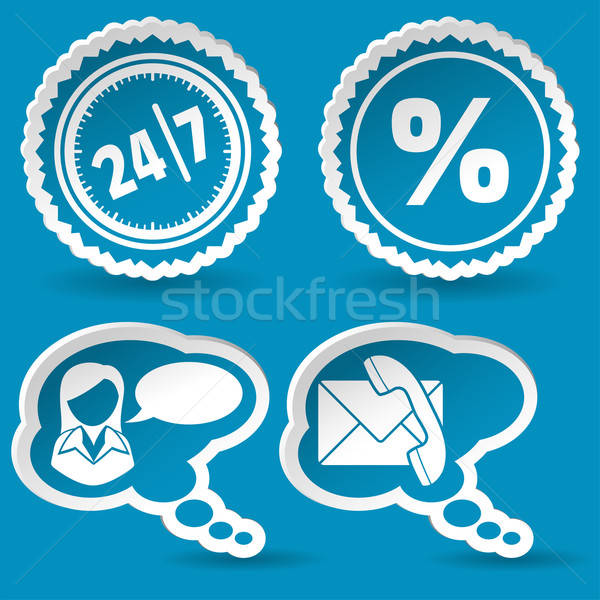 Collect Sticker with Speech Bubble and Stamp Icon Stock photo © -TAlex-