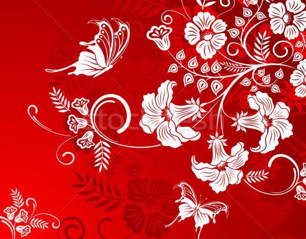 Virágmintás virág pillangó alkotóelem terv textúra Stock fotó © -TAlex-