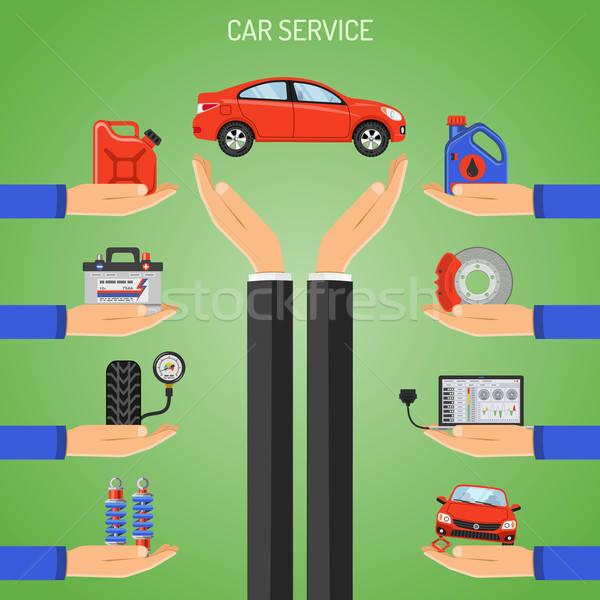 Auto servizio mano icone poster sito web Foto d'archivio © -TAlex-