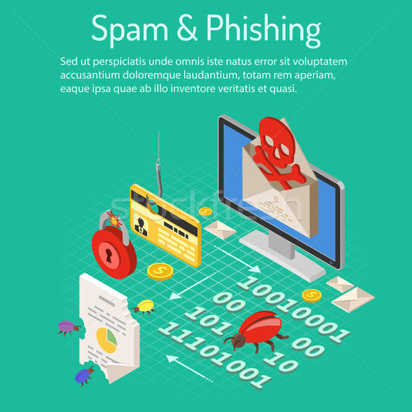 Spam phishing isométrique internet sécurité icônes Photo stock © -TAlex-