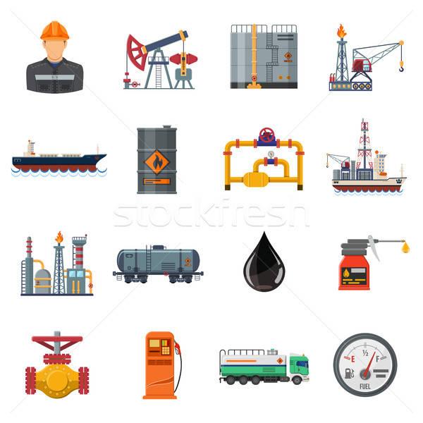 Oil industry Flat Icons Set Stock photo © -TAlex-