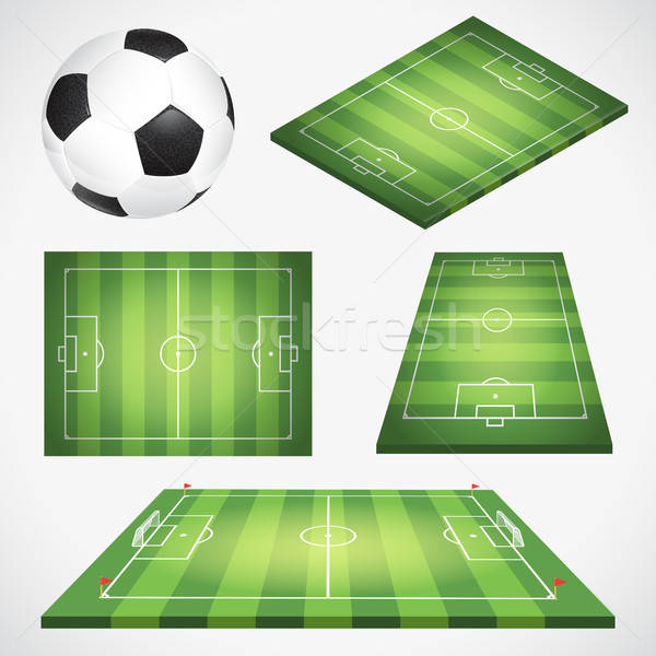 Stock photo: Soccer Football Field and Ball