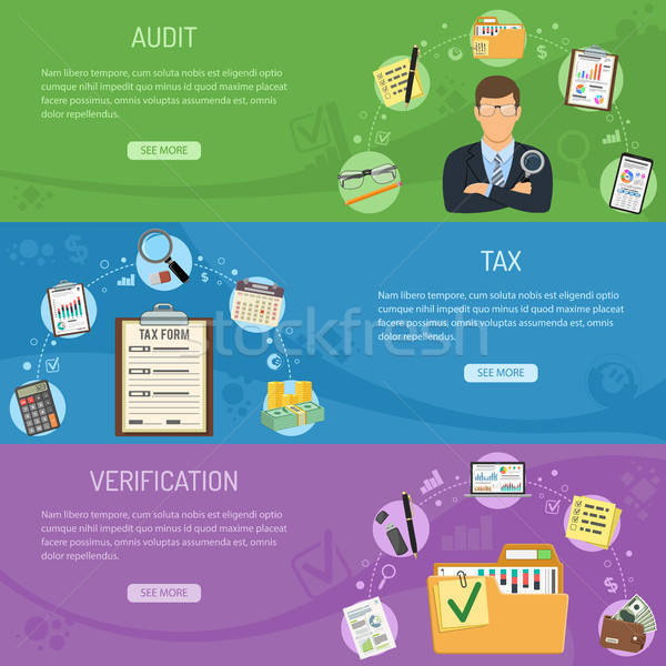 Belasting business boekhouding banners horizontaal stijl Stockfoto © -TAlex-