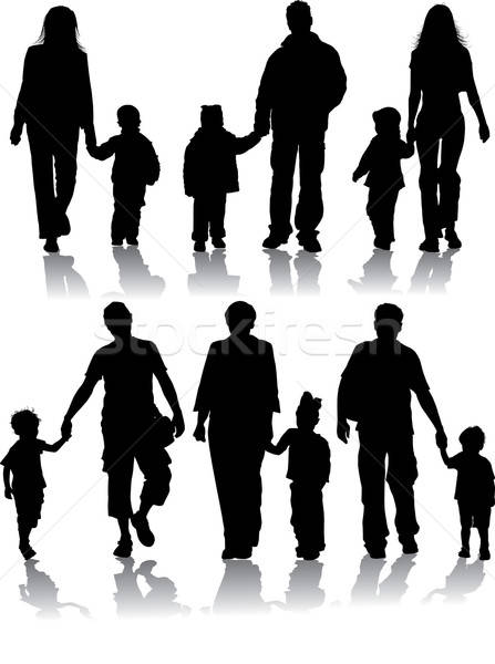 Vector silhouettes of parents with children Stock photo © -TAlex-