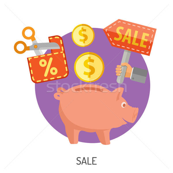 Internet Shopping and Sale Flat Icons Stock photo © -TAlex-