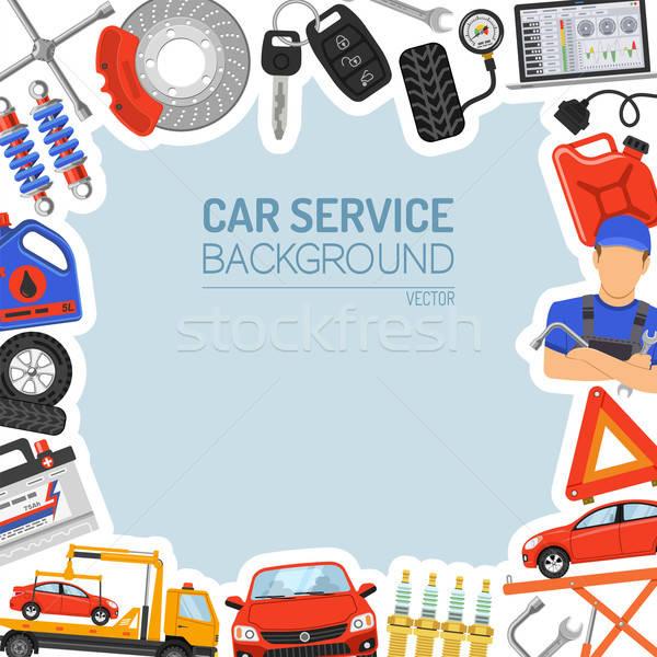 Autó szolgáltatás keret ikonok poszter weboldal Stock fotó © -TAlex-