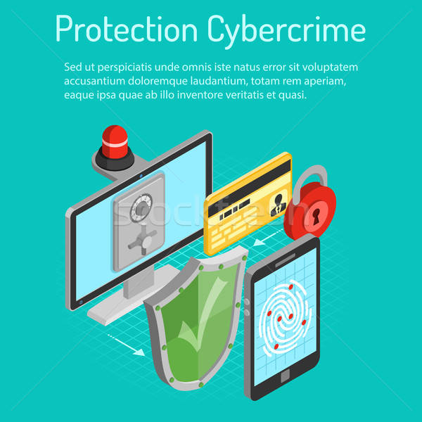 Cyber crime protection isometric concept Stock photo © -TAlex-