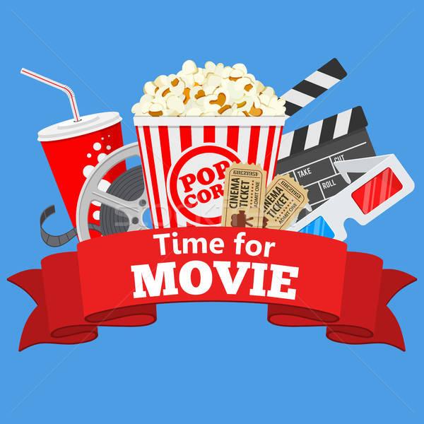 Cinema film tempo icone bobina popcorn Foto d'archivio © -TAlex-